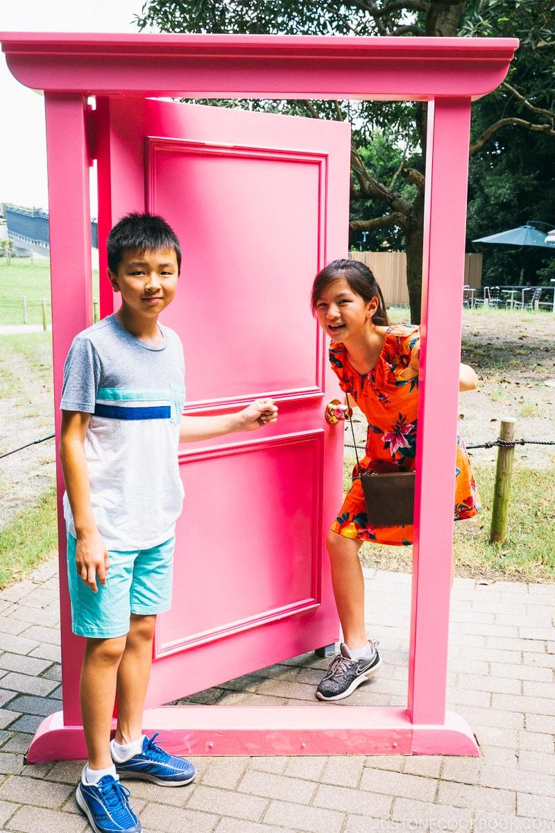 children posing next to anywhere door - Fujiko F Fujio Museum | www.justonecookbook.com