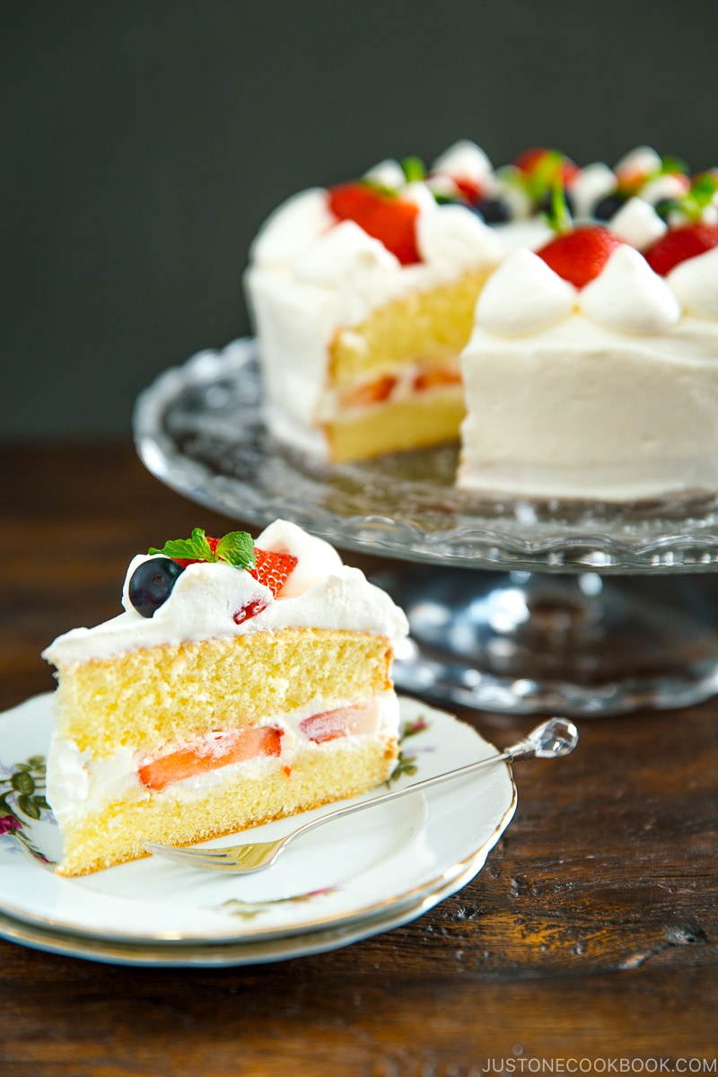 Strawberry shortcake slice on a plate.