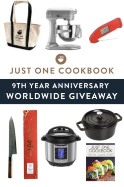 Just One Cookbook 9th Year Anniversary Worldwide Giveaway