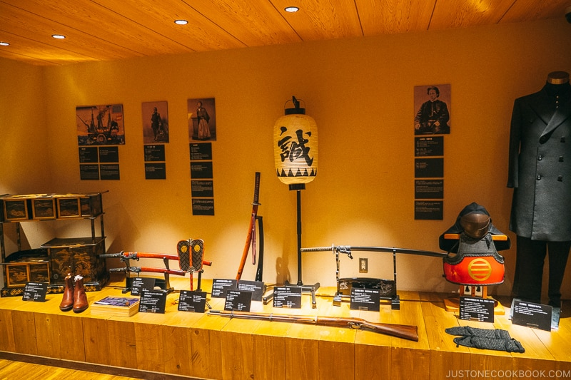 assorted items on display - Samurai Museum Tokyo | www.justonecookbook.com