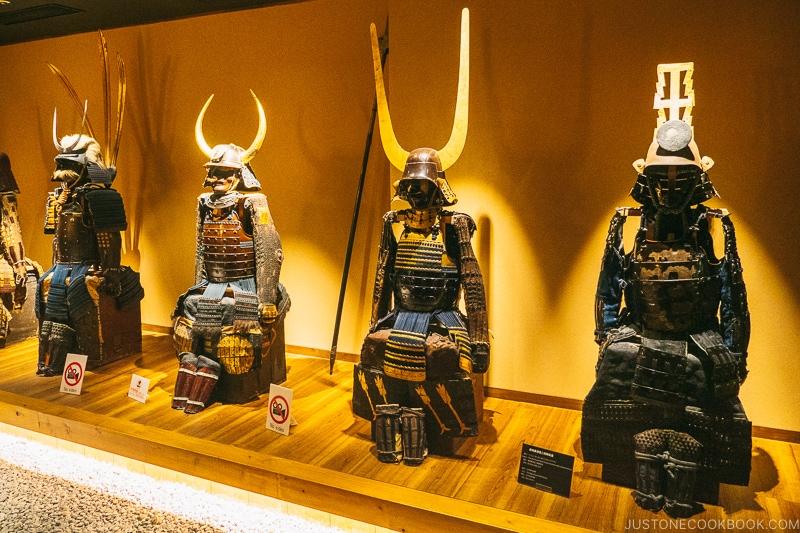 various samurai armors with helmets - Samurai Museum Tokyo | www.justonecookbook.com