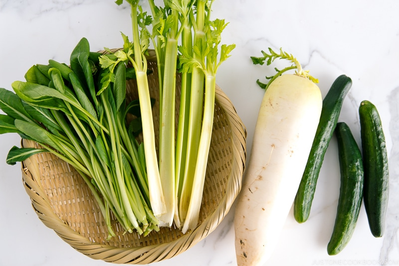 Komatsuna, celeries, daikon radish, and Japanese cucumbers.