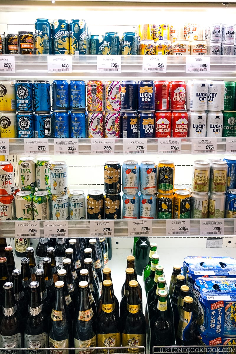 beer section in a Japanese supermarket