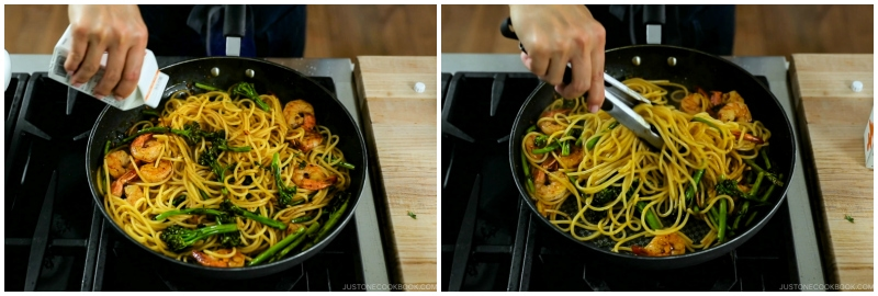 Quick Japanese Pasta with Shrimp and Broccolini 15