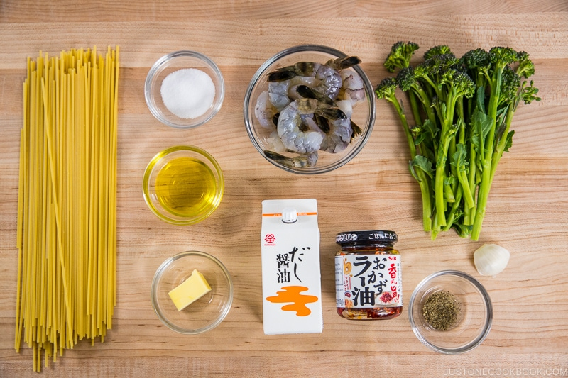 Quick Japanese Pasta with Shrimp and Broccolini Ingredients