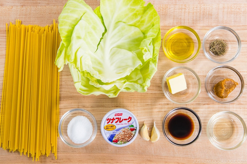 Tuna and Cabbage Japanese Pasta Ingredients