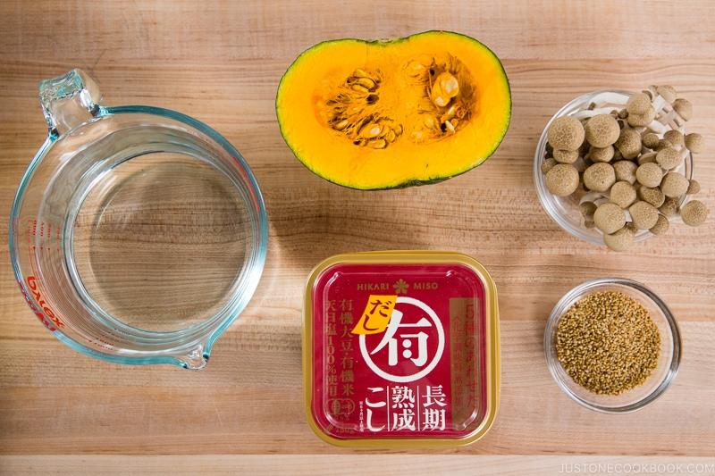 Kabocha Miso Soup Ingredients