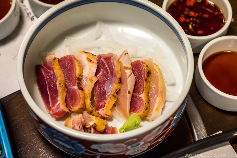 chicken tataki at Kumasotei restaurant in Kagoshima