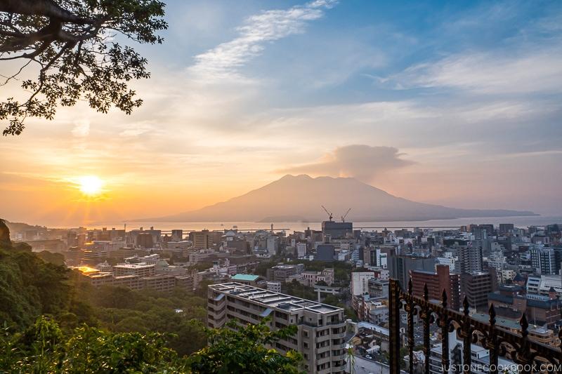 sunrise view of Sakurajima from Shiroyama Hotel Kagoshima