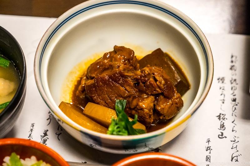 Kurobuta tonkotsu (stewed pork) at Kumasotei restaurant in Kagoshima