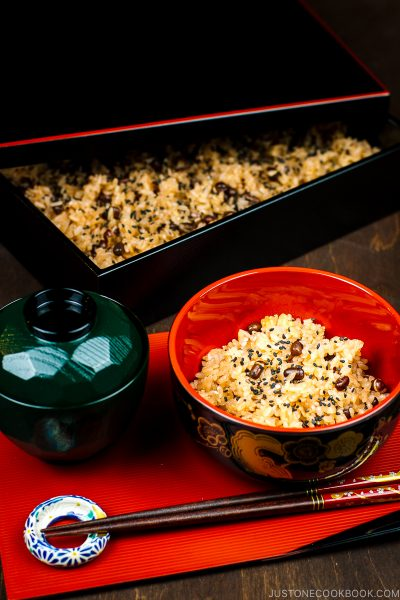 A bowl containing Sekihan (Japanese Azuki Red Bean Rice).
