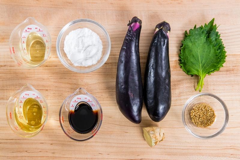 Soy Glazed Eggplant Donburi Ingredients