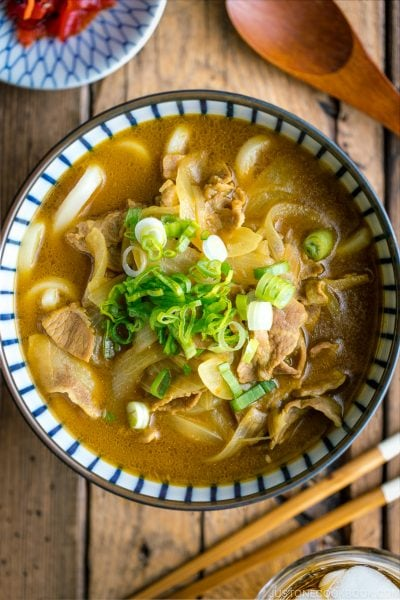 Curry udon in a Japanese bowl.