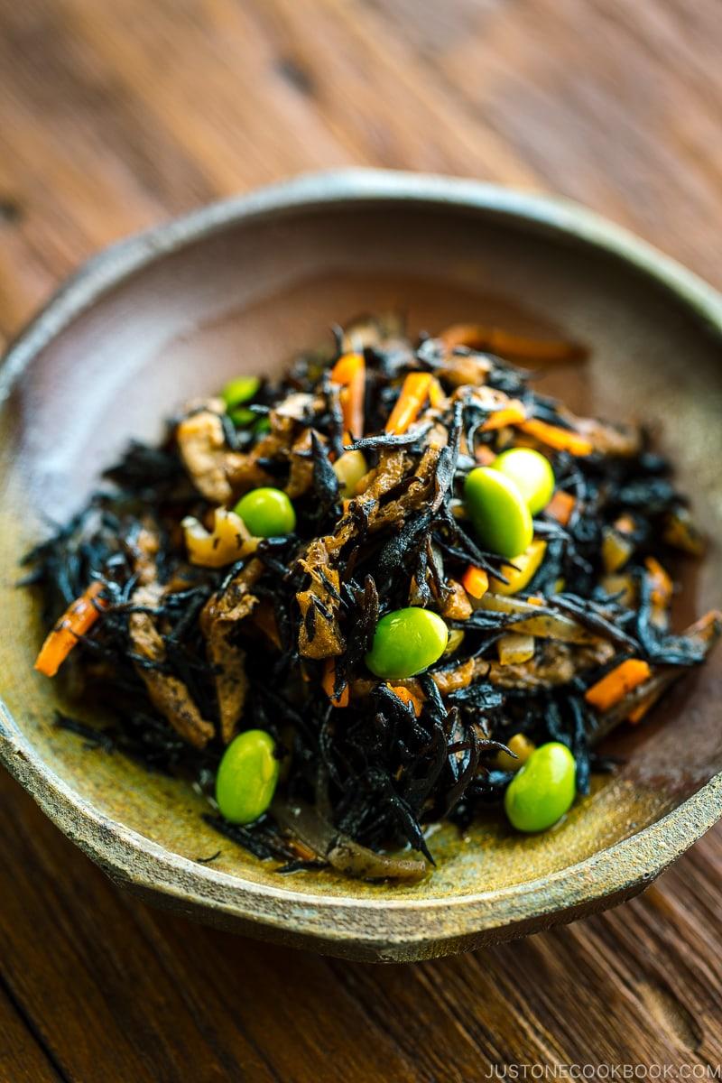 A ceramic dish containing Hijiki Seaweed Salad.