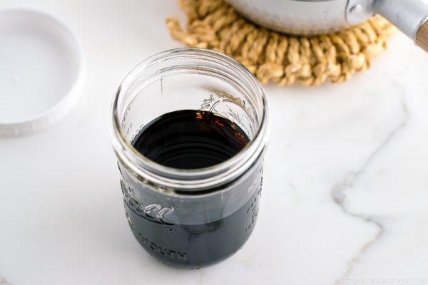 A mason jar containing Homemade Mentsuyu (Tsuyu) / Japanese Soup Base for Noodles.