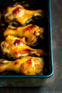 A baking sheet containing Honey Soy Chicken Wings
