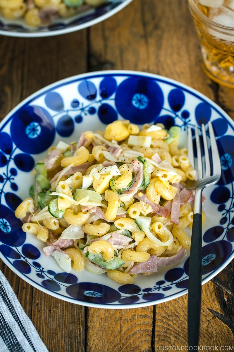 Japanese Macaroni Salad in a blue and white bowl.