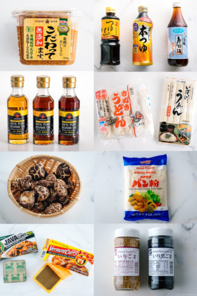 essential ingredients such as sesame oil, soy sauce, udon, shiitake mushrooms, curry roux for japanese cooking