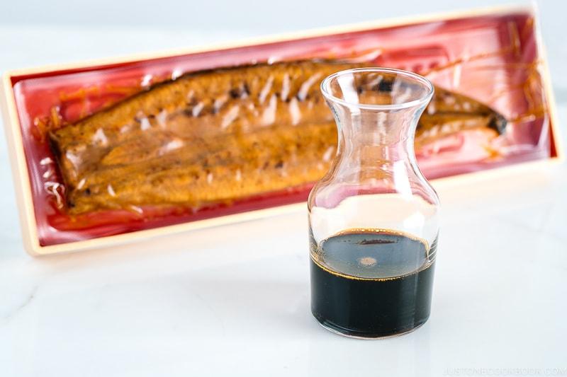 Unagi sauce in a glass bottle.