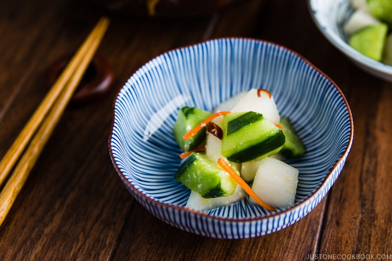 A Japanese ceramic bowl containing Daikon and Cucumber Salad with Shio Koji.