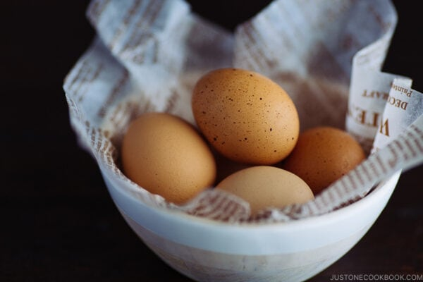 a white bowl containing pasteurized eggs.