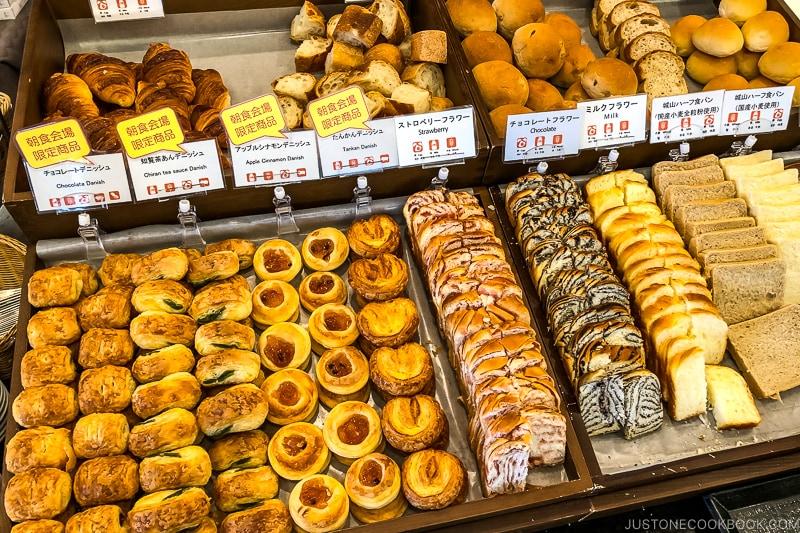 breakfast pastries at Shiroyama Hotel Kagoshima