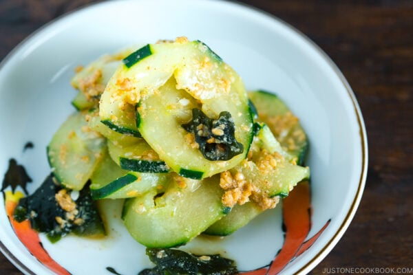 A small dish containing Spiralized Cucumber Salad.