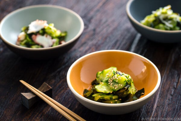 4 kinds of Sunomono (Japanese Cucumber Salad) in bowls..