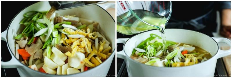 Adding dashi to tonjiru