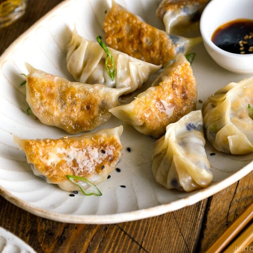 A white oval plate containing Vegetable Gyoza and dipping sauce.