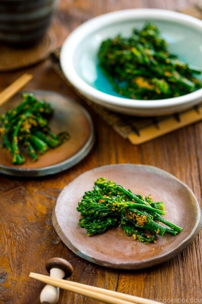 Bizenware plates containing Broccolini Gomaae.