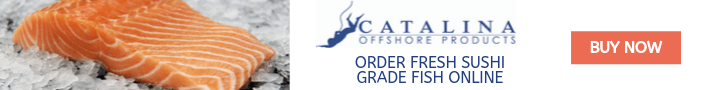 Catalina Offshore Products banner with salmon
