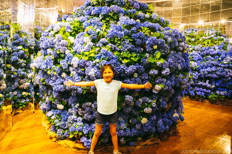 girl in front of a giant hydrangea flower