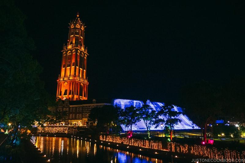 Domtoren tower lite up at night