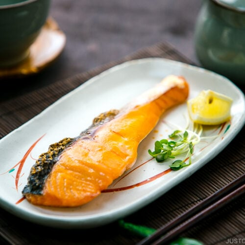 Japanese salted salmon served on a plate.