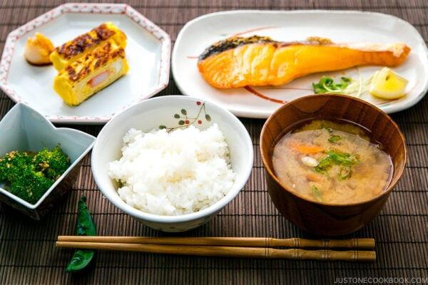 Salted salmon served along with Japanese style breakfast.