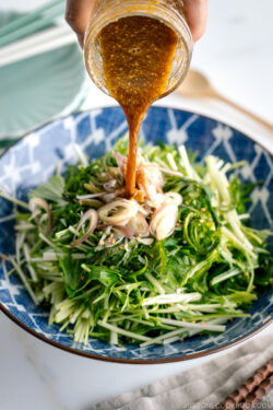 A dressing is pour over Mizuna Myoga Salad in a blue Japanese bowl.