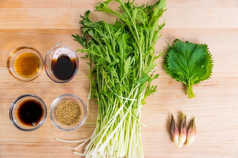 Mizuna Myoga Salad Ingredients
