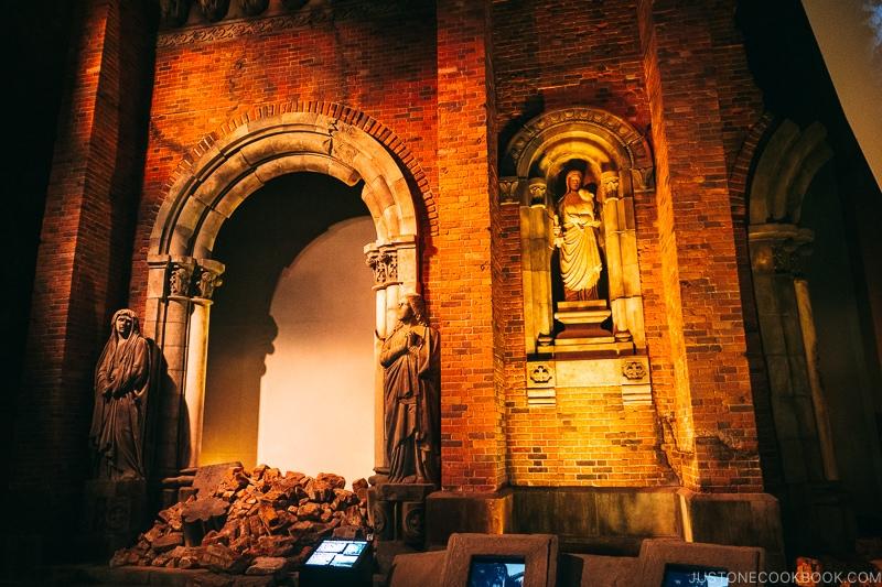 the crumbling wall of Urakami Cathedral