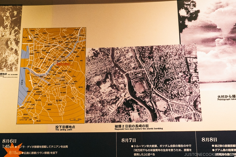 map and aerial images of nagasaki before atomic bomb