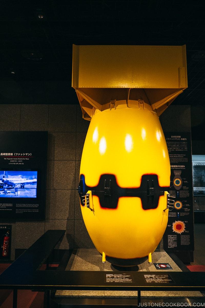 model of Nagasaki-type atomic bomb: Fat Man on display