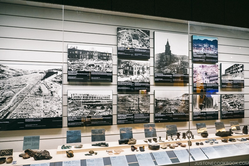 images and items that were damaged by the heat ray on display