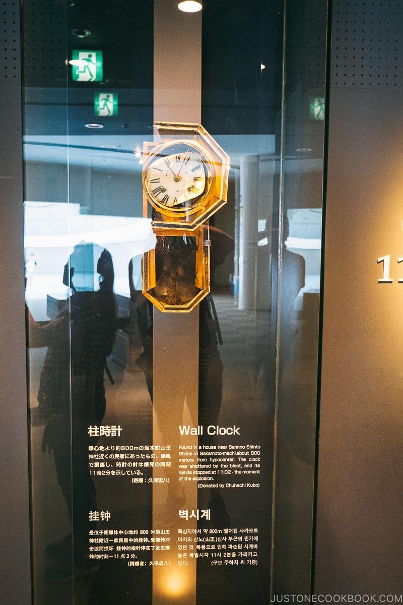 broken wall clock in a display case