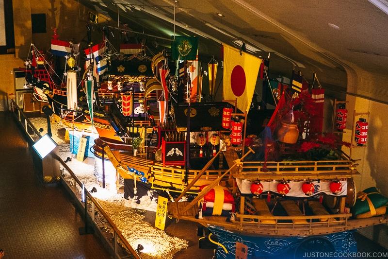 boat floats used for Nagasaki Kunchi festival on display at Nagasaki Traditional Performing Arts Museum