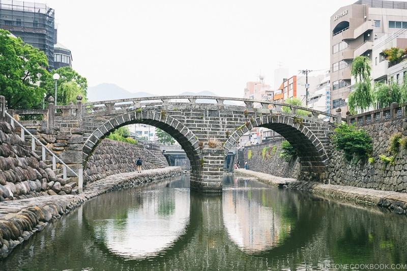 stone bridge Meganebashi Bridge crossing a canal