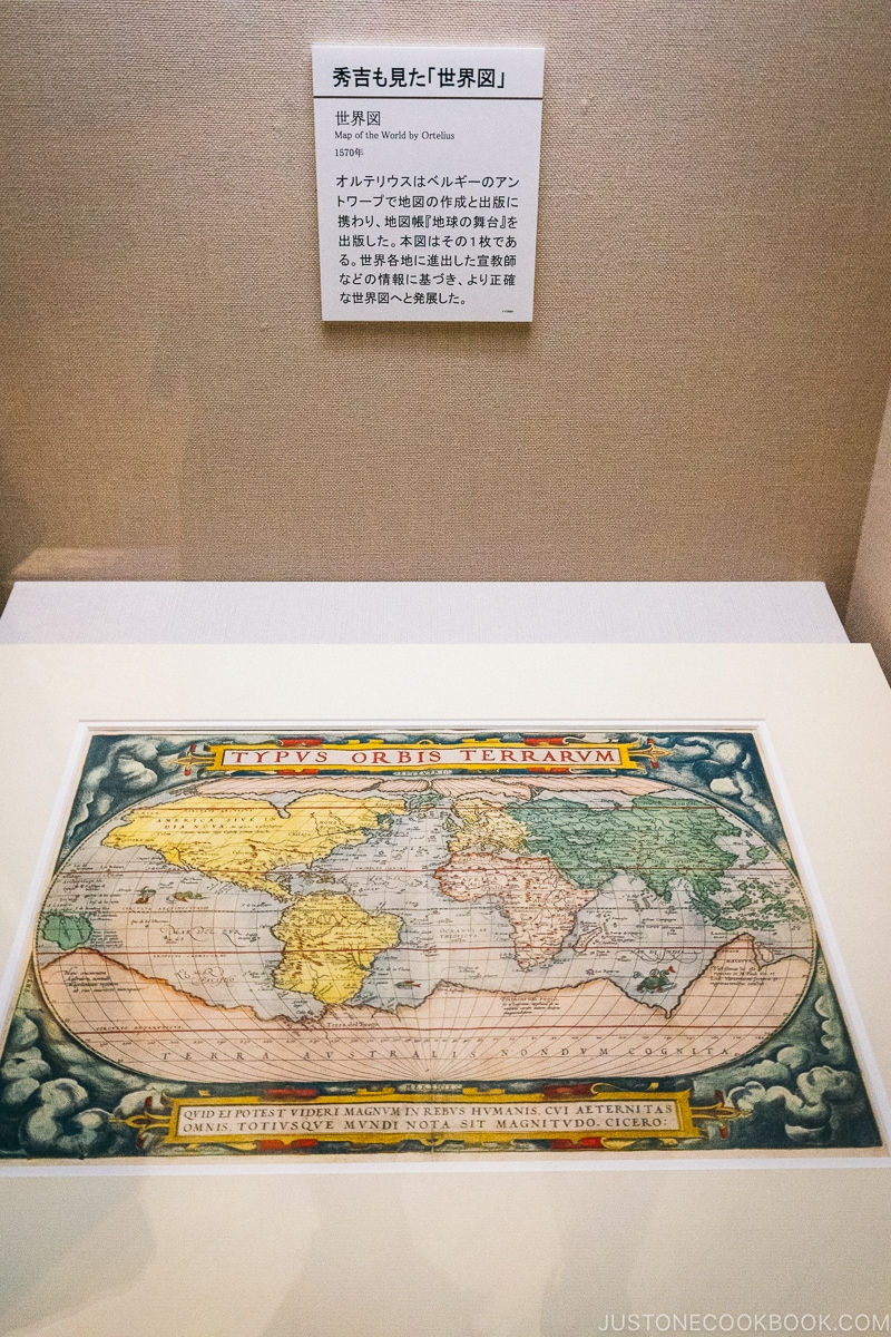 replica of world map from 1570s in a display case