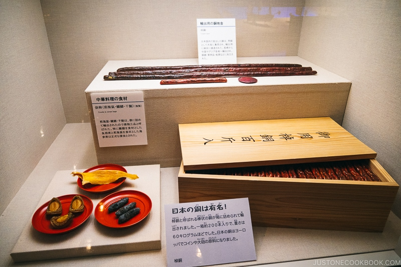 replica copper and food in a display case