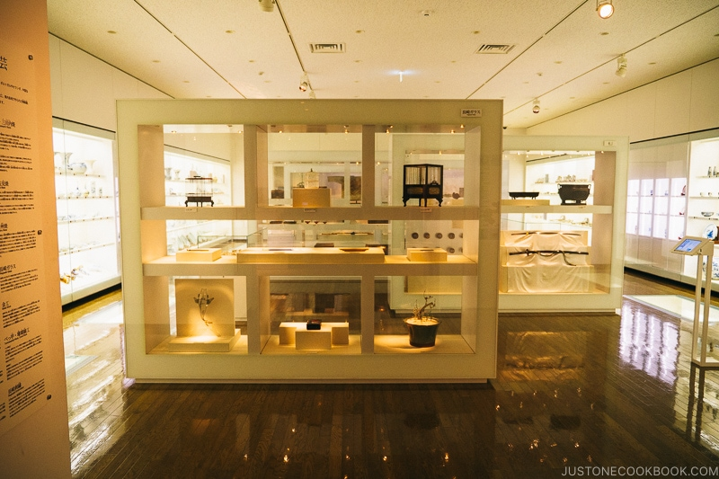 artifacts inside display case