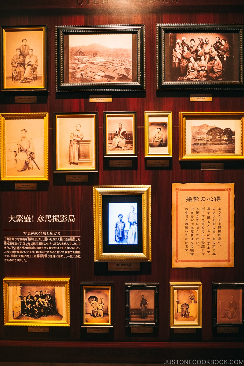 old photos on a wall