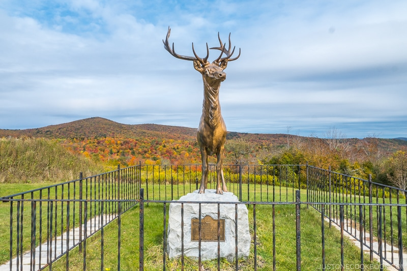 statues of a metal deer on a rock surrounded by metal gate in front of mountain scenery